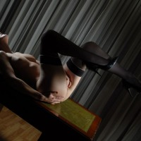 Masturbation On Table - Heels, Stockings