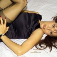 Black Dress Pulled Up - Long Hair, Stockings, Looking At The Camera