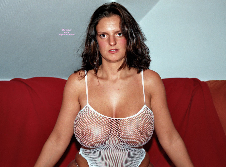 Pic #1 - Big Knockers In Fishnet - Big Tits, Huge Tits , White Fishnet, Mesh Basque, Bodacious Boobs, Fishnet Tank Top, Heavy Hangers, A Big Handfull, White Mesh Tank Top