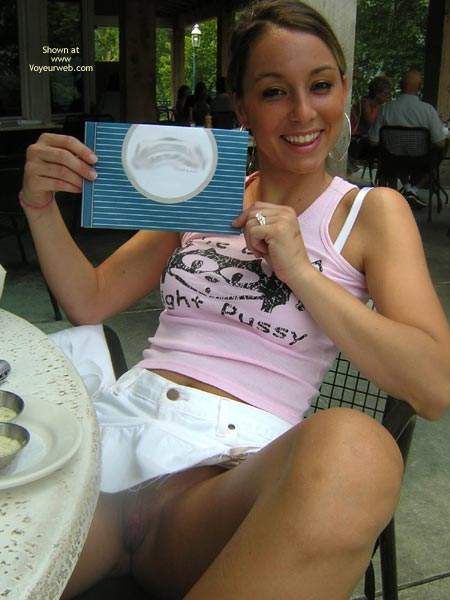 Pic #1 - Girlfriend No Panties Restaurant - Brunette Hair, Flashing, Girlfriend Pussy, Naked Girl, Flashing Pussy, White Bra, Hoop Earrings, White And Pink, Open Invatation, Pantyless Girl At Restaurant, Tight Pussy Pink Tank Top, Pussy Flash At Restaurant, White Mini