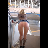 Presidential Ass - Blonde Hair, Long Hair , Skirt Up Bare Ass On Plane Steps, Denim Miniskirt, Blonde Lady Bent Over Skirt Up With Hooded Top And Boots, Ass Shot On Plane, Bottomless Raised Skirt From Behind, Full Moon For Airforce One, Brown Knee Boots, Naked Ass From Behind, Bent Over With Boots