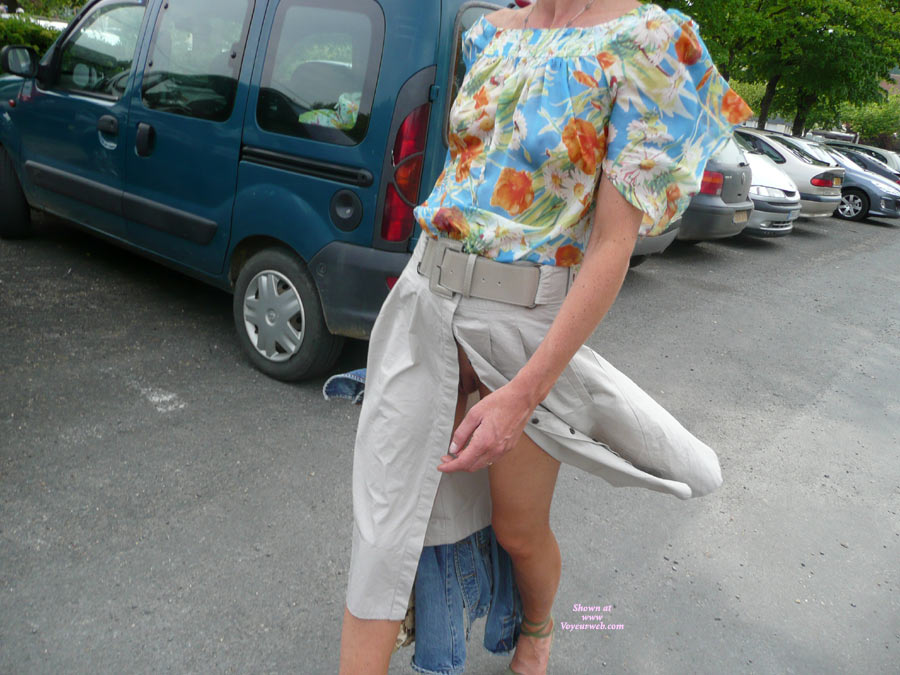 Pic #1 - Flashing In A Parking Lot - Flashing, Pussy Flash , Unfastened,wind Blown Open, Skirt, Flowery Transparent Blouse, Peek A Boo, Glimpse Of Pussy, Sneaky Flash, Floral Print Blouse, Wind Gives Free Pussy View, Denim Jacket, Tan Front Slit Skirt