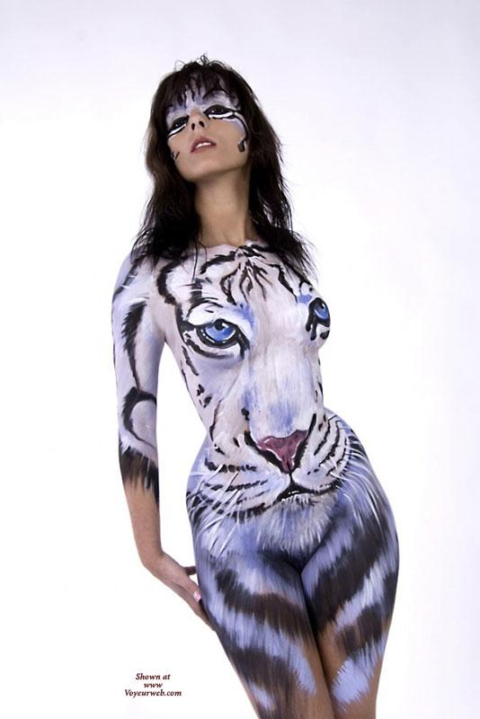 Femme Fatale , White Tiger, Full Body Paint, Feline Femme, Cross-eyed Cat, Tiger Body Paint, White Tigeress, Pussy In Paint, Painted Body, Painted Pussy