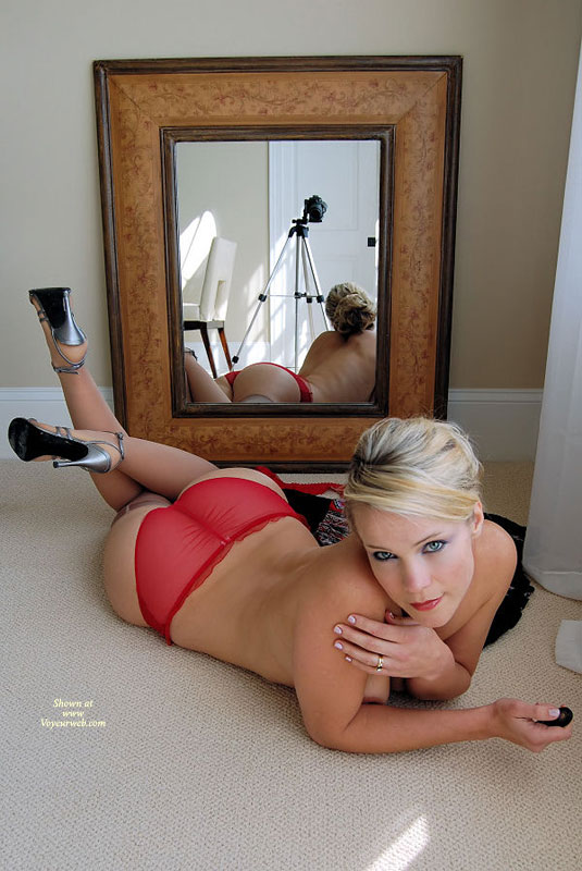 Pic #1 - Blonde On Floor Topless In Front Of Mirror - Blonde Hair, Heels, Long Legs, Topless , Self Portrait Topless, Beautiful Ass, Silver Heels, Sheer Panties, See-through Red Panties, Housewife, Long Legs In Silver High Heels, Red Seethrough Panties, Topless Indoor, Body In Mirror