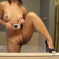 Pussy Self Shot - Brown Hair, Heels, Landing Strip, Long Hair, Self Shot, Spread Legs, Hairless Pussy, Naked Girl, Nude Amateur